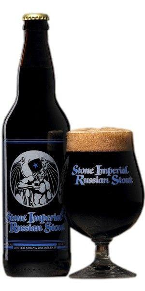 Cerveja Stone Imperial Russian Stout, estilo Russian Imperial Stout, produzida por Stone Brewing Co., Estados Unidos. 10.5% ABV de álcool.