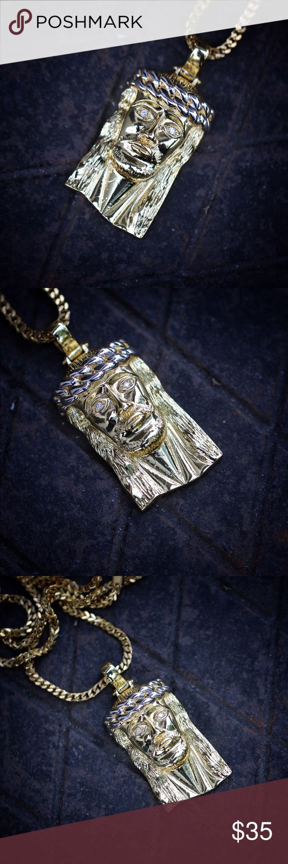 Hip Hop 18k Gold Jesus Piece Pendant And Chain Hip Hop 18k Gold Jesus Piece Pendant And Franco Chain  Jesus Piece is about 2 inches in length. Chain is made of 316 stainless steel with a 18k gold plating. 2.5mm width 22,24 or 26 inch franco chain or 3mm width 30 inch franco chain Included. The Jesus piece has a silver crown in a cuban link style TSV Jewelers Accessories Jewelry