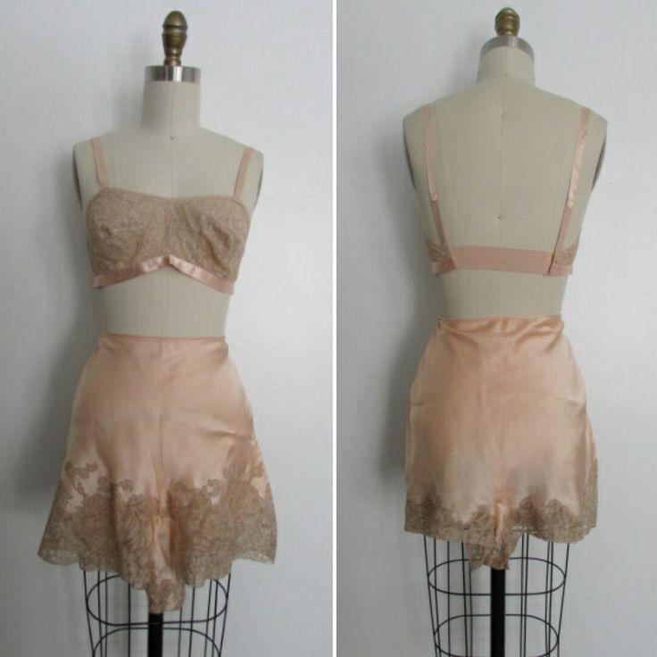 1930's lace bra and panties set  1930's lingerie   vintage lingerie   small… - lingerie women, glamour lingerie, womens lingerie shops