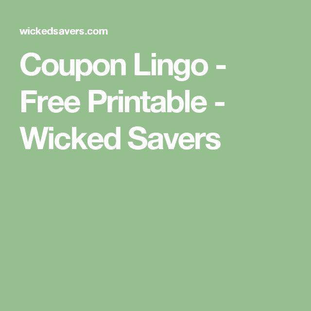 Coupon Lingo - Free Printable - Wicked Savers