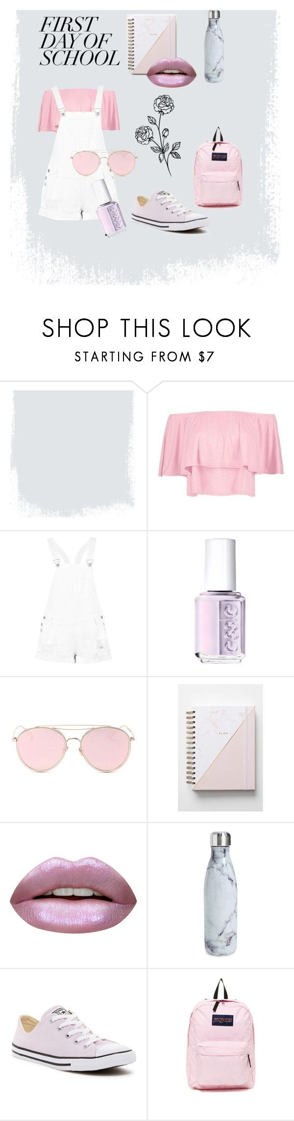 """Untitled #16"" by darya-andreea ❤ liked on Polyvore featuring Boohoo, Essie, LMNT, Hadron Epoch, Huda Beauty, S'well, Converse and JanSport"