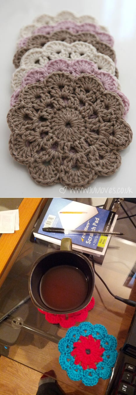Pretty Coaster Pattern http://crochet.about.com/od/vintage/ss/aa052606.htm  Picture includes the ones I made!