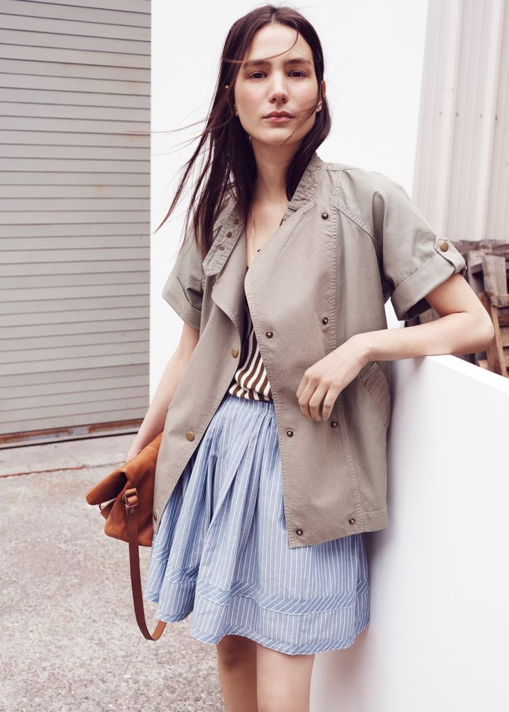 Madewell Sahara Jacket worn with v-neck tank + shirtstripe skirt.