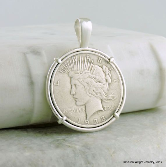 Coin Jewelry with Vintage Peace Dollar 1923 in Handmade Pendant Sterling Silver Setting