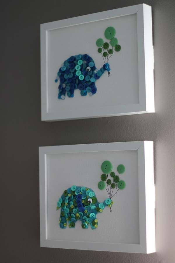 Cute button elephants. - Top 28 Most Adorable DIY Wall Art Projects For Kids Room