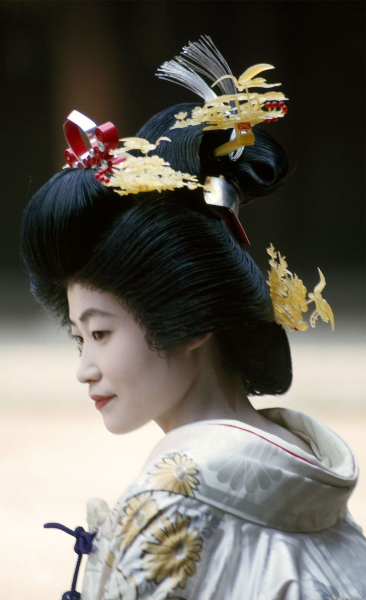 Japan A Shinto Bride Dresses In Traditional Wig And