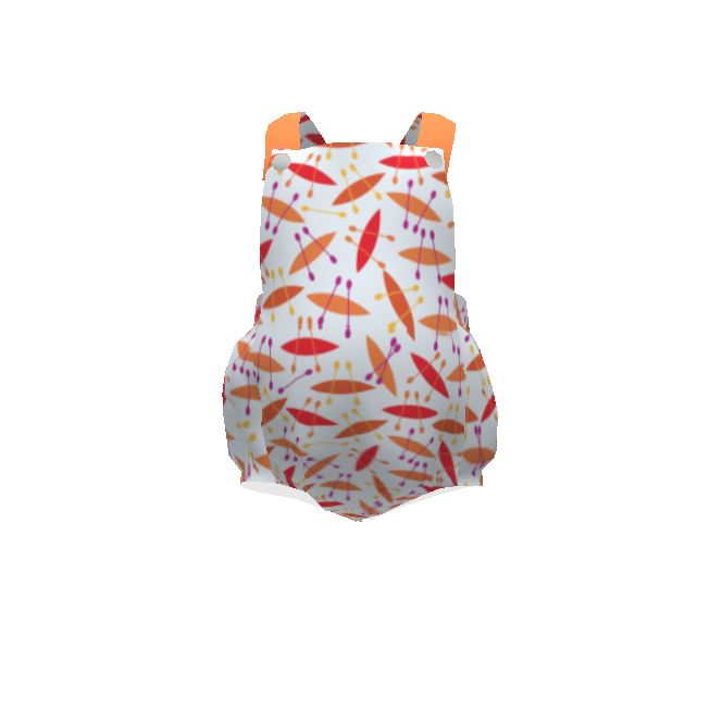 Brindille and Twig Summer Romper made with Spoonflower designs on Sprout Patterns. Perfect little summer romper with #abstract #canoes #paddles #lagoon #resort #summer #watersports