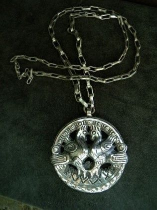 Charlott's Antique Vintage Jewelry - pendent & crosses bronze (Powered by CubeCart) Product Information Pendant in Tin from Kalevala Koru,Finland.Made in the 30´s. The original dates from 800 a.JC found in Kuhmoisten Papinsaaresta, Finland.