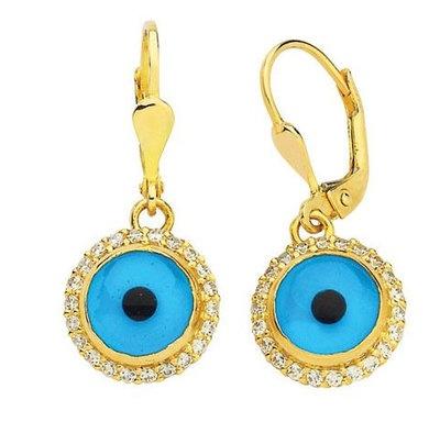 EVIL EYE 14K  YELLOW GOLD  EARRINGS DIAMOND LOOK SETTING   ELEGANCE evil eye good luck earrings  the item code (EGZ-31 )  4.20 GR.  14K(585) STAMPED  HANDMADE   HIGHT QUALITY   EXCELLENT  NEW DESIGN  MADE IN TURKEY   WE ACCEPT SPECIAL ORDER