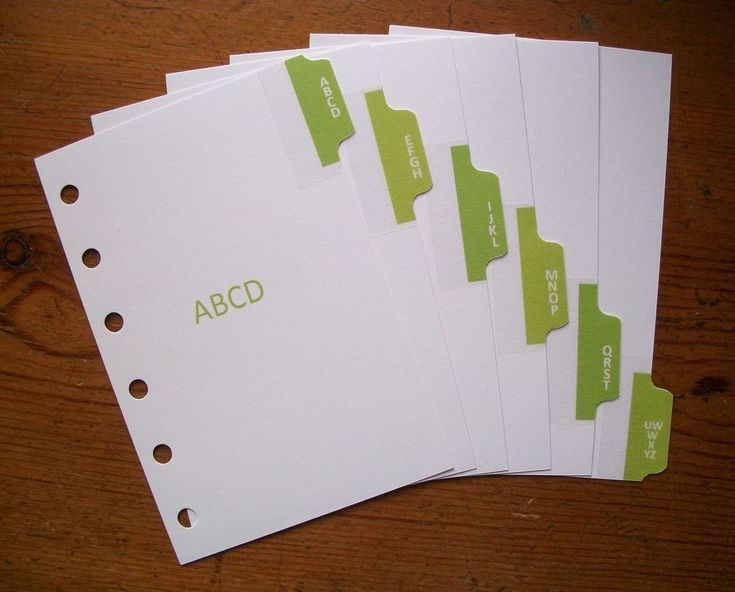 Grass Green Pocket size A-Z dividers by HandmadebyMei. Fits #filofax