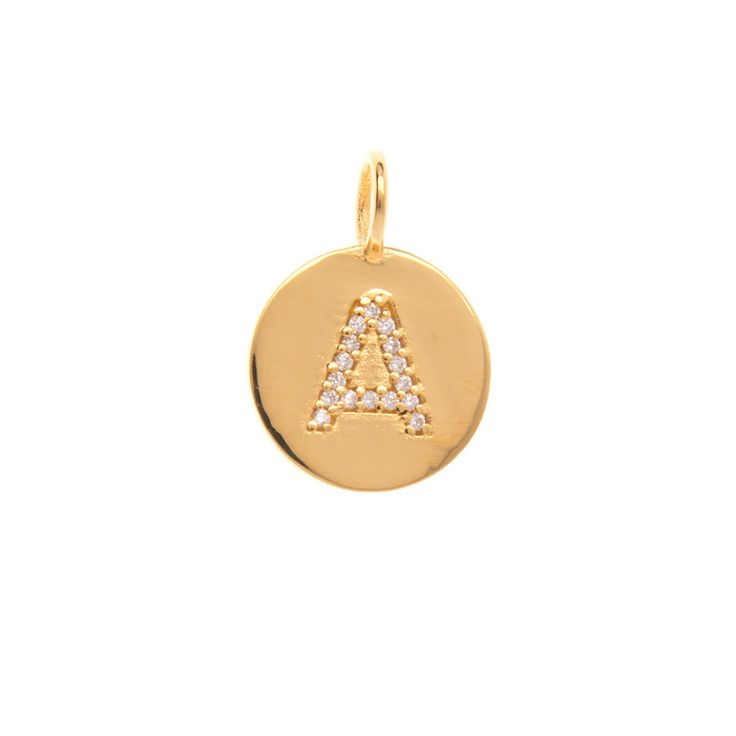 Gold initial 'A' disc