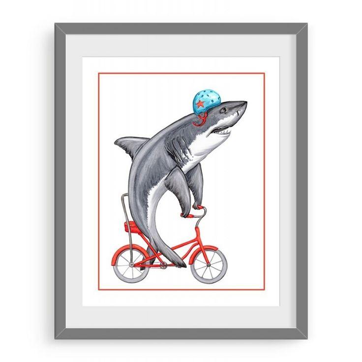 Affiche Requin à vélo par Amélie Legault Illustrations! Ce n'est pas parce que Yves le Requin est le plus redouté qu'il n'a pas besoin de mette aussi son casque pour faire du vélo! http://oupelaille.ca/fr?utm_content=buffer8b525&utm_medium=social&utm_source=pinterest.com&utm_campaign=buffer