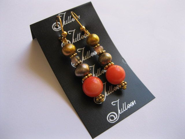 Orange Coral Tourmaline and Gold Pearl Earring in by JulleenJewels