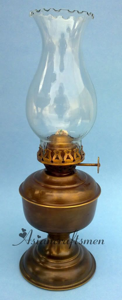 brass oil kerosene lamp brass oil lamp glass chimney. Black Bedroom Furniture Sets. Home Design Ideas
