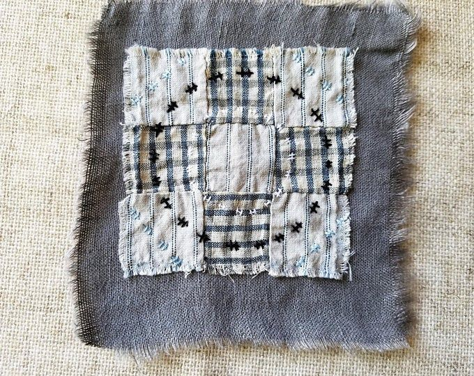 Japanes Boro Sashiko Slow Stitch Mending Patch Of Natural Etsy Sashiko Japanese Embroidery Hand Dyed Fabric