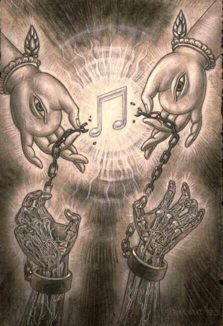 Love this... Music will set you free from the chains you bind yourself in :) love the artists interpretation :)