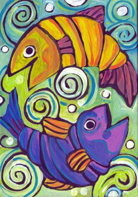 Two Fish Painting at ArtistRising.com