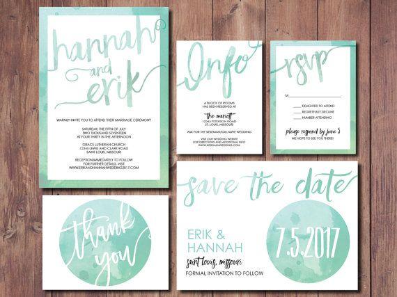 Druckbare Hochzeitseinladung, Einfache Hochzeit Einladung Suite, Minze  Grüne Hochzeitseinladung, Mint Grün
