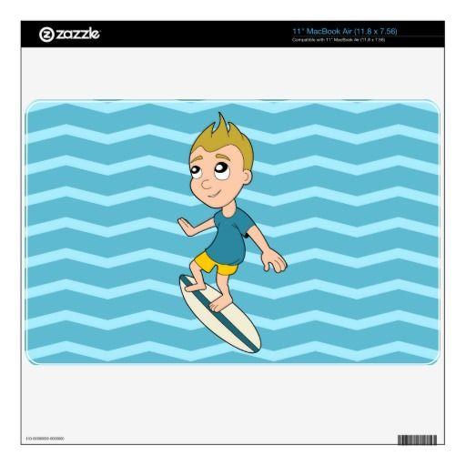 Surfing boy cartoon MacBook skin