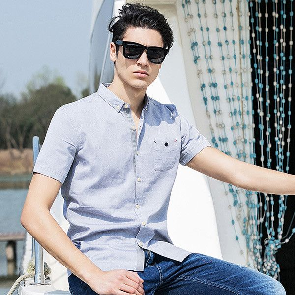 New Arrival 100% Cotton Oxford Men Shirt Slim Fit Camisa Masculina Street Soft Chemise Homme 3Xl Shirt