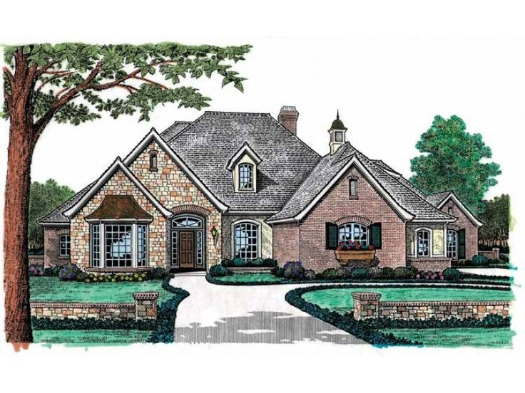 french country house plan with 3012 square feet dhsw49248 for a smaller one story
