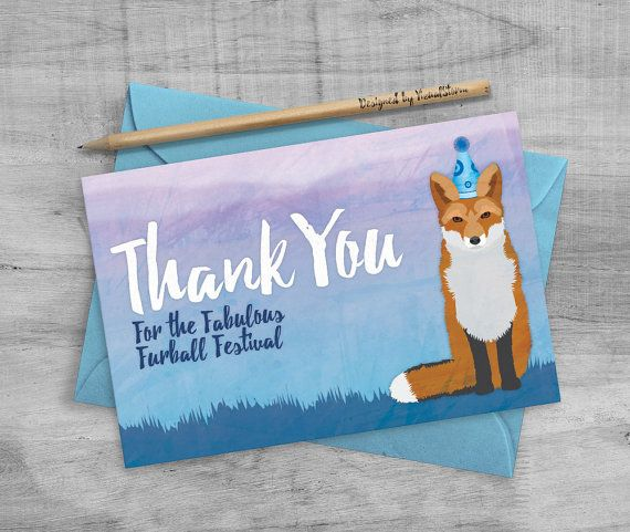 21 best thank you cards vizualstorm images on pinterest fox party thank you card printable red fox thank you notes fox birthday cards illustrated woodland animal birthday baby shower greeting card thecheapjerseys Images