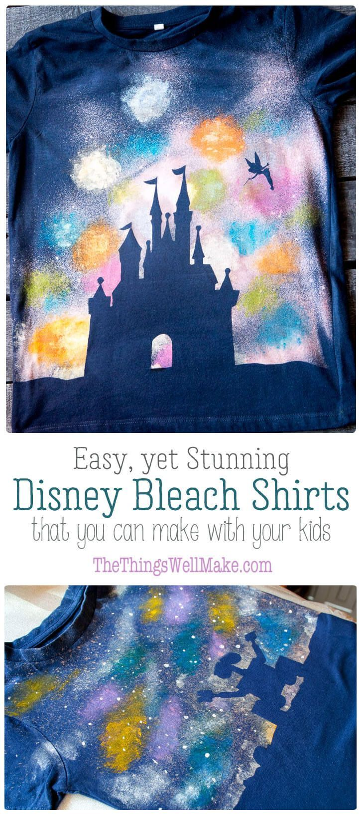 How to make a quick & easy galaxy Wall-E t-shirt, & other fun bleach spray shirts like a Disney castle silhouette shirt, that are embellished with fabric paints to make simple, yet stunning, designs. #walle #bleach #tshirt #Disney  via @thethingswellmake