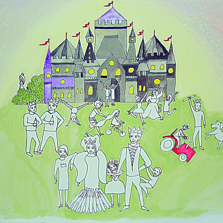 """Book """"A different kind of Neverland"""" by Dieuwke Twyerould. About the illustration: """"There were also many princes and princesses who had themselves little princes and princesses..."""""""