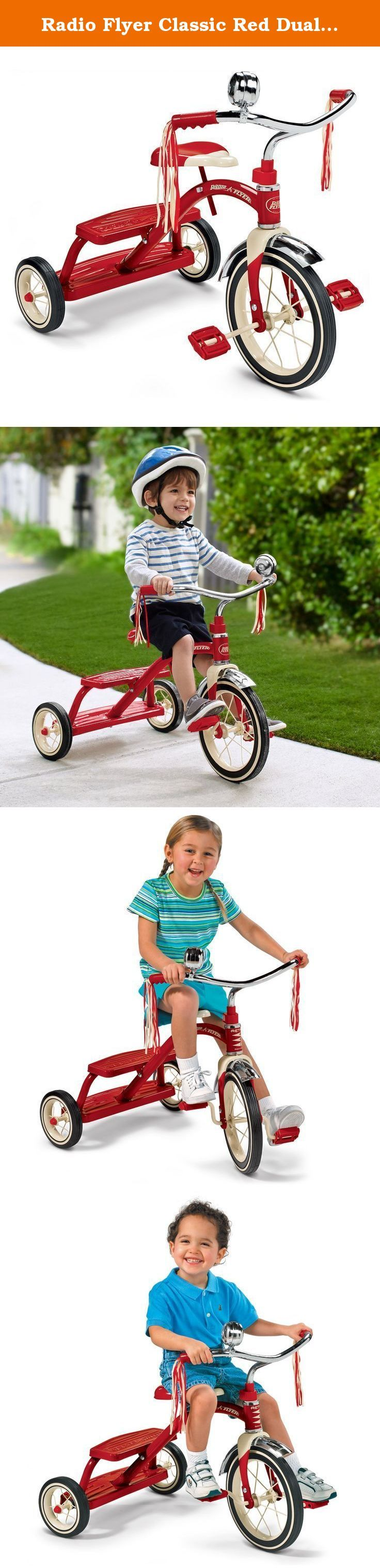 """Radio Flyer Classic Red Dual Deck Tricycle. 12"""", classic Red tricycle, Retro styling, sturdy steel construction , steel spoked wheels with real rubber tires, working Bell, double deck rear step, easy assembly, body 31-5/8 x 24-1/2 x 21-5/8, ages 2-1/2 to 5."""