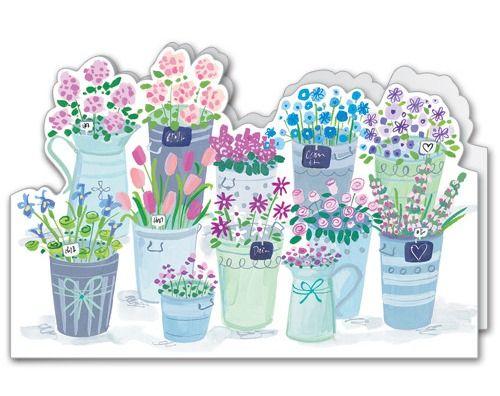 Flower Buckets (A103). Matt Textured, Die cut wraparound, with a white 100 gsm envelope. Blank for your own message.