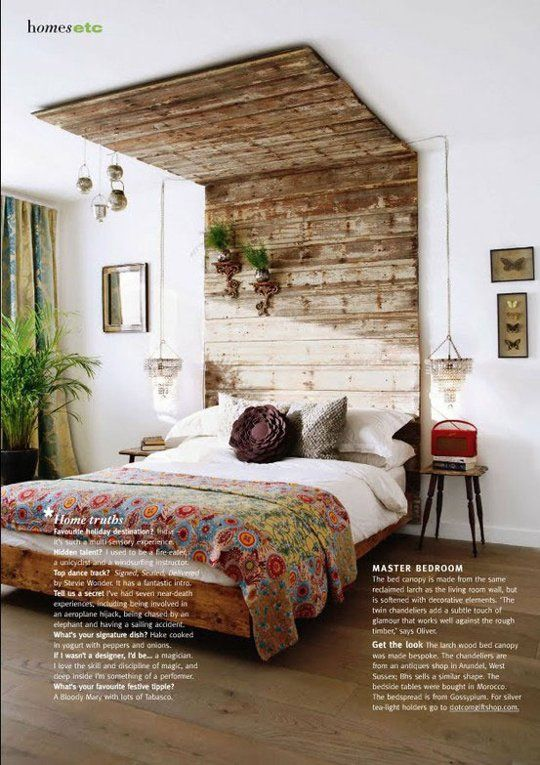 Great bed frame. I love the white walls with the rustic wood. Haute Hippie: Bedrooms with a Bohemian Vibe