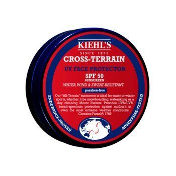 Kiehl's Cross-Terrain UV Skin Protector SPF 50 - 40g/1.4oz by Kiehl's. $39.95. Broad Spectrum SPF 50. UV Skin Protector. Water Resistant (80 minutes). Cross-Terrain. Sunscreen. With a wax-like texture that dissolves quickly into skin Boasts a unscented, water-, sweat- & wind-resistant formula Formulated with Squalane, a refined moisturizing oil derived from olives Offers optimum UVA/UVB broad-spectrum protection in even the most extreme weather conditions Excellent for air,...