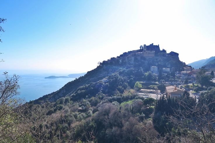 Sunny day and great view of Eze Village. A typical small town offering outstanding overviews of the French Riviera.