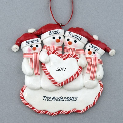 Family of Snowmen (4) Heart Personalized Clay Dough Ornament I need to make this