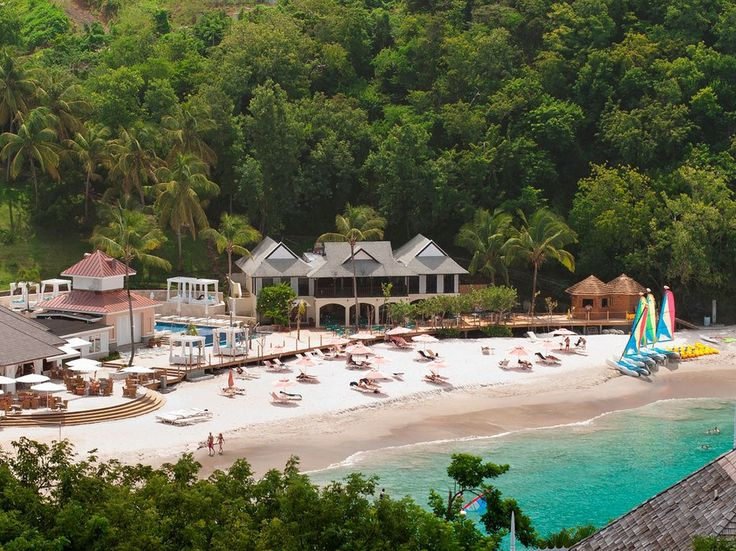 This beachfront all-inclusive is set on a private cove in northwest St. Lucia, near Pigeon Island National Landmark. The wellness center, decorated in Jerusalem stone and mosaics, offers Pilates and Reiki and has a heated marble massage bed. All five restaurants use local produce, often from the hotel's own organic garden. A $20 million renovation, completed in 2011, added an infinity pool and a boardwalk and expanded the water sports center.