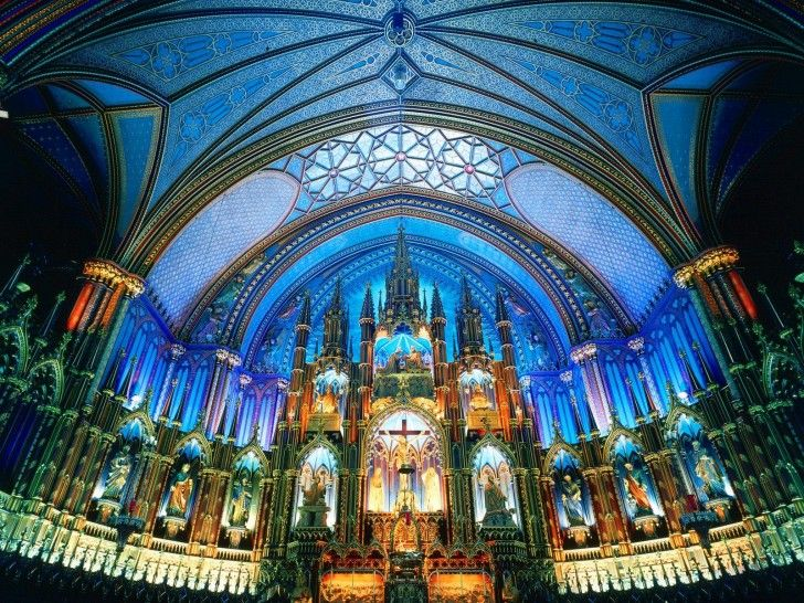Montréal's Notre Dame Basilica in Quebec, Canada, is one of the most stunning examples of Gothic Revival architecture in the world. Built in 1823, this beautiful Roman Catholic church is a popular tourist stop for its amazing architecture, dramatic interior, and enthralling choral and organ performances. Notre Dame Basilica is a National Historic Site of Canada and a Montréal landmark.