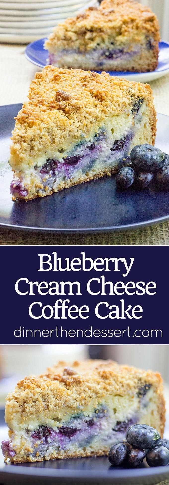 Blueberry Cream Cheese Coffee Cake with a tender center, creamy filling and a crunchy, buttery topping. A perfect mix of crumb coffee cake and cheesecake.