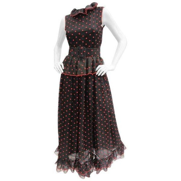 Preowned 1970s Oscar De La Renta Silk Organza Polka Dot Gown ($850) ❤ liked on Polyvore featuring dresses, gowns, black, long dresses, vintage polka dot dress, vintage evening dresses, long gown and long polka dot dress