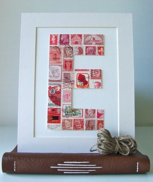 monogramStamps Art, Crafts Ideas, Cute Ideas, Stamps Monograms, Vintage Stamps, Letters Art, Handmade Gift, Frames Art, Postage Stamps