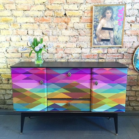 Upcycled vintage retro sideboard drinks cabinet Cole & Son Prism decoupage