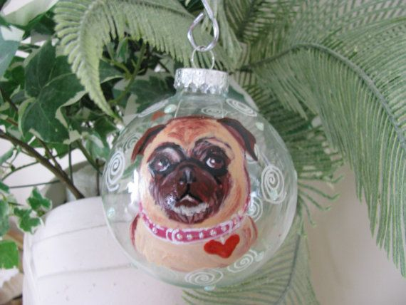 Painted Ornament Animal Cartoon  Pet Portrait   Custom Personalized Cat Dog
