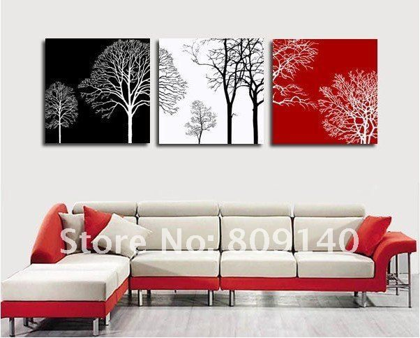 Free Shipping Decoration Oil Painting Canvas Abstract Tree Black White Red Theme High Quality Handmade Home