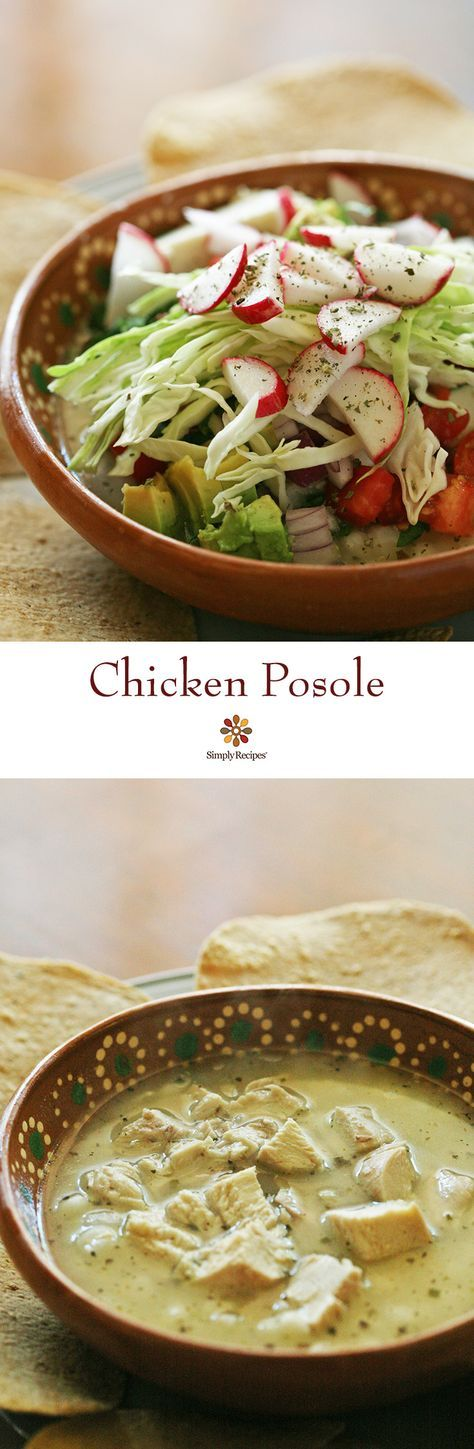 Chicken Pozole ~ Mexican chicken pozole recipe, pozole blanco, traditional dish of Guerrero, Mexico, made with hominy, chicken, and several garnishes. ~ http://SimplyRecipes.com