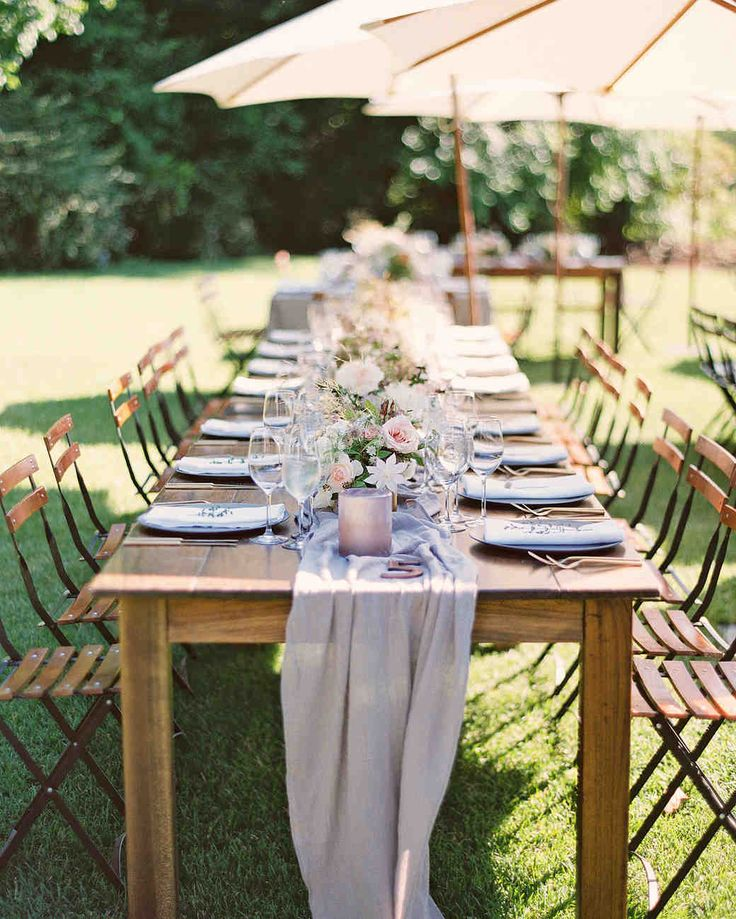 20 Tips for Throwing the Ultimate Spring Wedding | Martha Stewart Weddings - Airy linens speak to the season perfectly, and its little touches like these that your celebrants will remember. MAP Events planned this tablescape for a chic outdoor wedding. #weddingideas #weddingdecor #springwedding