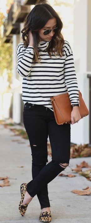 A striped turtleneck, distressed black denim, leopard print loafers create the perfect everyday look for fall!