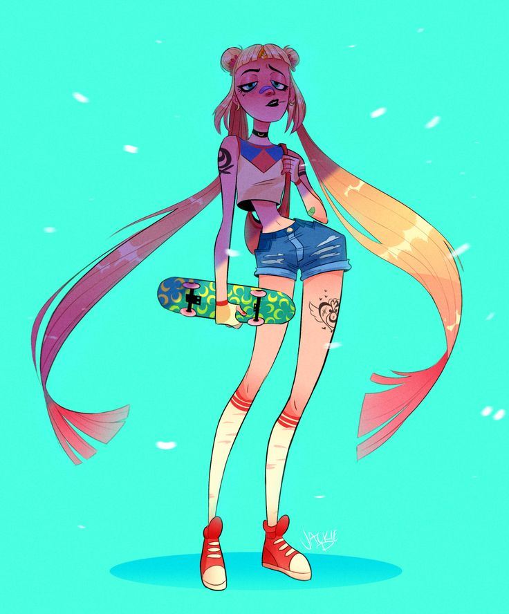 """Monthly Character Design Challenge : Wowcorn """" skater sailor moon for the monthly character"""