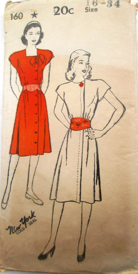 New York 160 Womens Dress 1940s Vintage Sewing by Denisecraft, $12.99