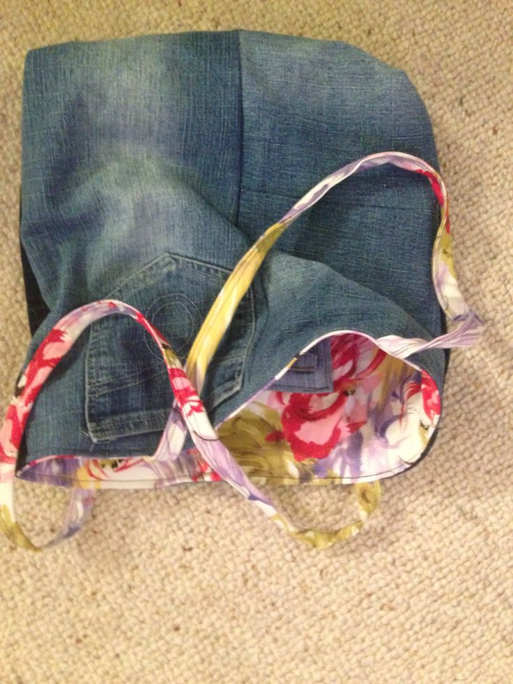Frock and denim refashioned into tote bag