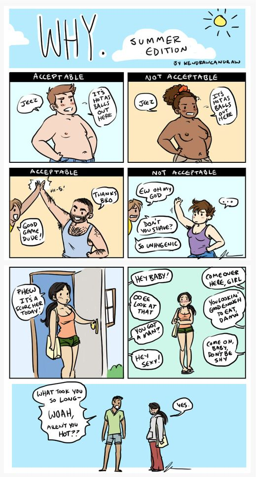 so true. Not that I'd not wear a shirt, but it annoys me that female body hair is 'gross' while male body hair (which is much more abundant and sweatier) is okay - though, not that I'd quit shaving, well, everything now anyway.