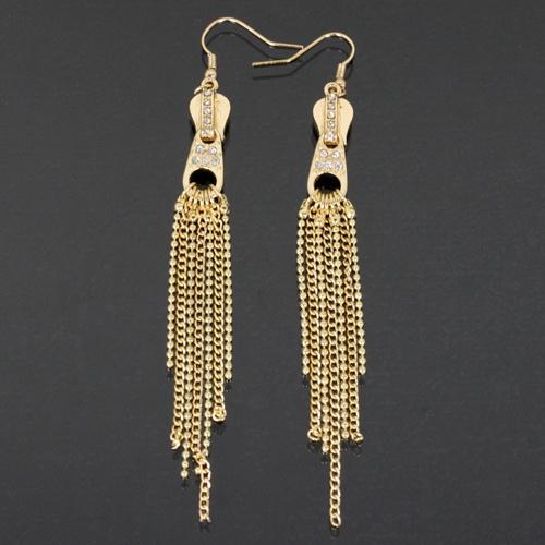 LOVEY GOLD ZIPPER EARRINGS-gold, zipper, earring
